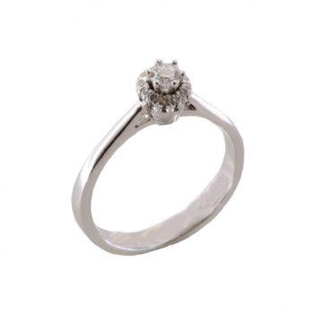 Δαχτυλίδι Μονόπετρο Λευκόχρυσο Κ18 Με Μπριγιάν 0.16ct ΔΟ70029