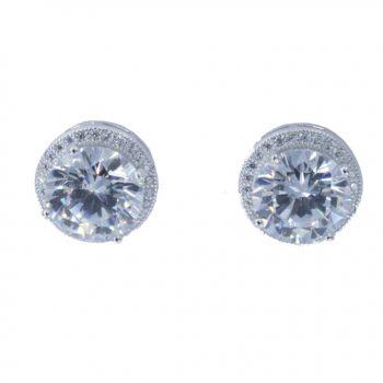 Σκουλαρίκια Ασημένια Επιπλατινωμένα Με Ζιργκόν ΣΚ40535