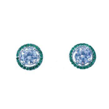 Σκουλαρίκια Ασημένια Με Πράσινα Ζιργκόν ΣΚ40575