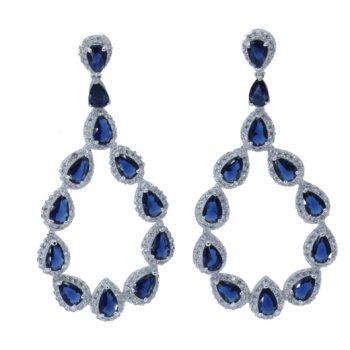 Σκουλαρίκια Επιπλατινωμένα Με Μπλε Ζιργκόν ΣΚ39000