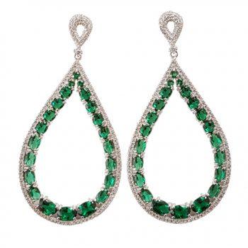 Σκουλαρίκια Επιπλατινωμένα Με Πράσινα Ζιργκόν ΣΚ40505