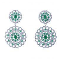 Σκουλαρίκια Επιπλατινωμένα Με Πράσινα Ζιργκόν ΣΚ40510