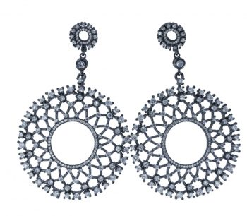 Σκουλαρίκια Μαύρα Επιπλατινωμένα Με Ζιργκόν ΣΚ45005