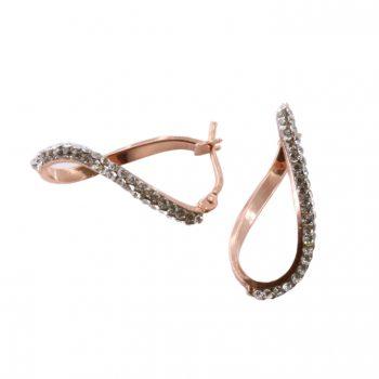 Σκουλαρίκια Ροζ Χρυσά Κ14 Κρίκοι Με Ζιργκόν ΣΓ10007