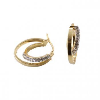 Σκουλαρίκια Χρυσά Κ14 Κρίκοι Με Ζιργκόν ΣΓ10003