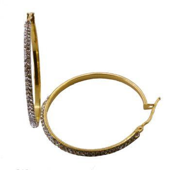 Σκουλαρίκια Χρυσά Κ14 Κρίκοι Με Ζιργκόν ΣΓ9000