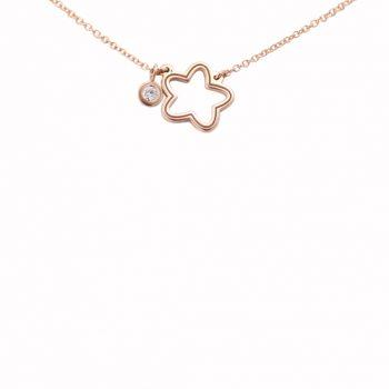 Κολιέ Αστέρι Με Μπριγιάν Ροζ Χρυσό ΚΟ09380