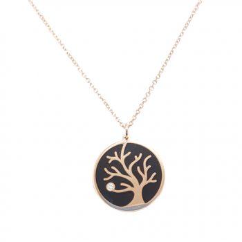 Κολιέ Δέντρο Της Ζωής Ροζ Χρυσό Κ14 ΚΟ09070