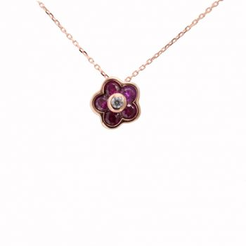 Κολιέ Λουλούδι Με Ζιργκόν Ροζ Χρυσό ΚΟ09320