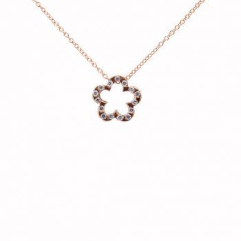 Κολιέ Λουλούδι Με Λευκά Ζιργκόν Ροζ Χρυσό ΚΟ09315