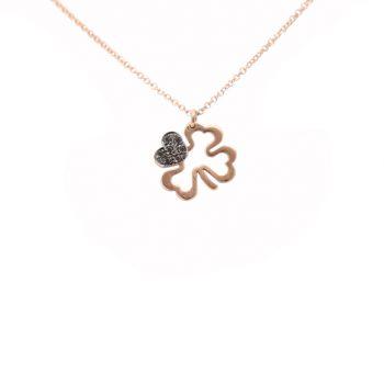 Κολιέ Τετράφυλλο Ροζ Χρυσό Με Μαύρα Διαμάντια ΚΟ09372