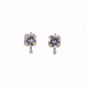 Σκουλαρίκια Ασημένια Δίχρωμα Μονόπετρα ΣΚ40582