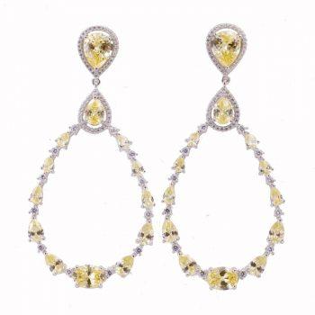 Σκουλαρίκια Ασημένια Με Λευκά Και Κίτρινα Ζιργκόν ΣΚ40522
