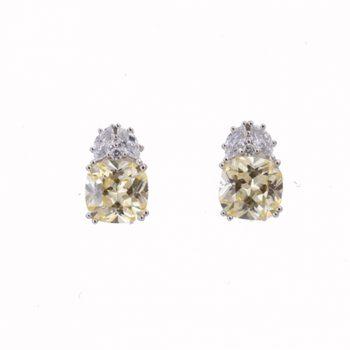 Σκουλαρίκια Ασημένια Με Λευκά Και Κίτρινα Ζιργκόν ΣΚ40580