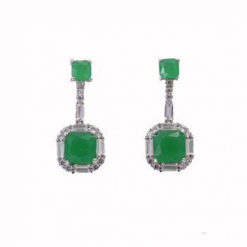 Σκουλαρίκια Ασημένια Με Χρυσοπράσιο Και Ζιργκόν ΣΚ40585