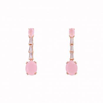 Σκουλαρίκια Ασημένια Ροζ Επιχρυσωμένα ΣΚ41080