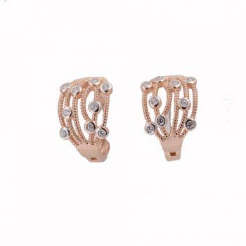 Σκουλαρίκια Ασημένια Ροζ Επιχρυσωμένα ΣΚ41095