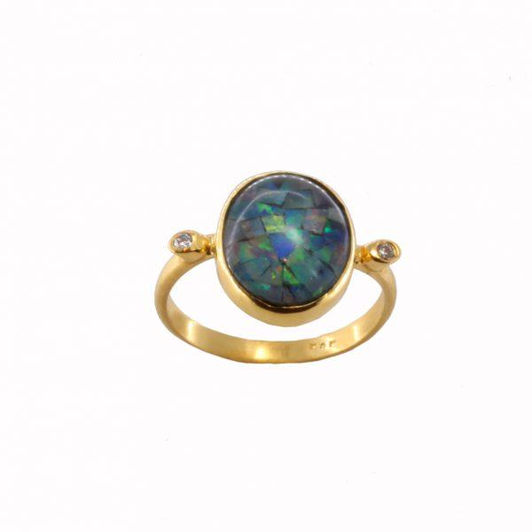 Δαχτυλίδι Κ14 Χρυσό Με Μπλε Οπάλιο ΔΟ10970 fda95629464