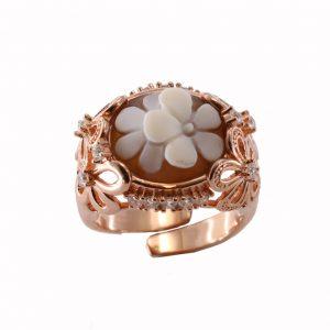 Δαχτυλίδι Cameo Italiano Ασημένιο Ροζ Επίχρυσο ΚΙ5565