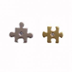 Σκουλαρίκια Κ14 Δίχρωμα Κομμάτια Παζλ ΣΚ09525