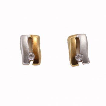Σκουλαρίκια Δίχρωμα Κ14 Με Ζιργκόν ΣΓ10060