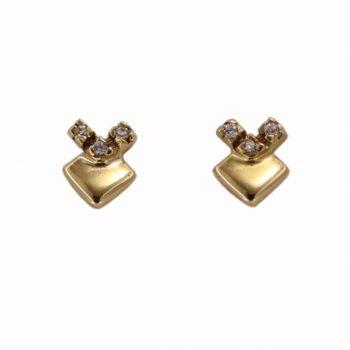 Σκουλαρίκια Χρυσά Κ14 Με Ζιργκόν ΣΓ10100