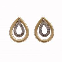 Σκουλαρίκια Χρυσά Κ14 Σταγόνες Με Ζιργκόν ΣΓ10045