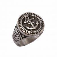 Δαχτυλίδι Αντρικό Ατσάλινο Με Άγκυρα ΔΟ54095