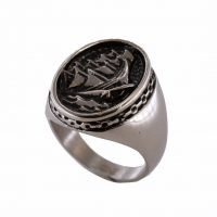 Δαχτυλίδι Αντρικό Ατσάλινο Με Σχέδιο Καράβι Και Θάλασσα ΔΟ54090