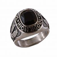 Δαχτυλίδι Αποφοίτησης Αντρικό Ατσάλινο Με Μαύρο Όνυχα ΔΟ54100