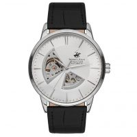 Beverly Hills Polo Club Gents Automatic Black Leather Strap BH9624-03