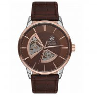 Beverly Hills Polo Club Gents Automatic Brown Leather Strap BH9624-02