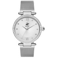 Beverly Hills Polo Club Ladies Crystals Silver Stainless Steel Bracelet BH2110-01