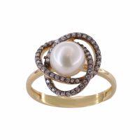 Δαχτυλίδι Χρυσό Κ14 Mε Μαργαριτάρι Και Ζιργκόν ΔΟ10645