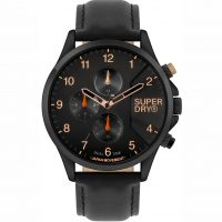 Superdry Dual Time Black Leather Strap SYG282BB