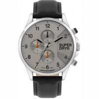 Superdry Dual Time Black Leather Strap SYG282EB