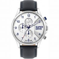 Superdry Dual Time Black Leather Strap SYG282UW
