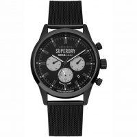 Superdry Mens Dual Time Black Stainless Steel Bracelet SYG256BBM