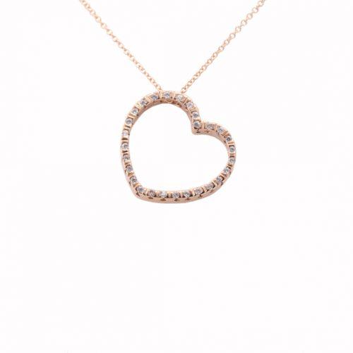 Κολιέ Καρδιά Με Ζιργκόν Ροζ Χρυσό Κ9 ΚΟ09150