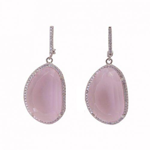 Σκουλαρίκια Ασημένια Με Ροζ Χαλκηδόνιο ΣΚ40595